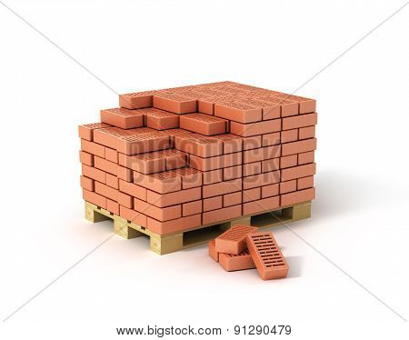 Red Bricks Stacked On Wooden Pallet Isolated On White Background.
