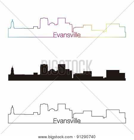 Evansville Skyline Linear Style With Rainbow