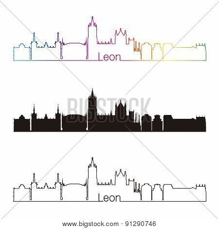 Leon Skyline Linear Style With Rainbow