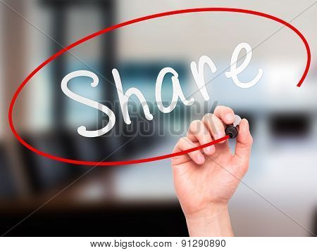 Man Hand writing Share with marker on transparent wipe board.