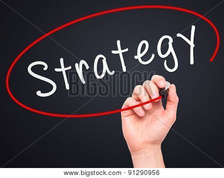 Man Hand writing Strategy with marker on transparent wipe board.