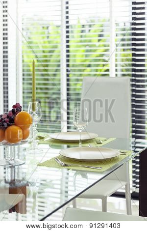 Dining Table With Dinner Set Fruit And Wine Glass with Garden View