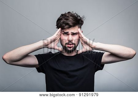 Man feeling pain,  with gray background