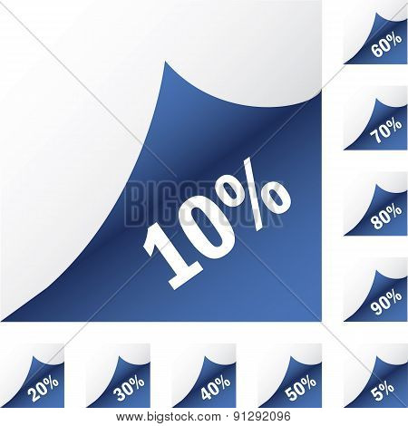 Blue paper sickers with discount