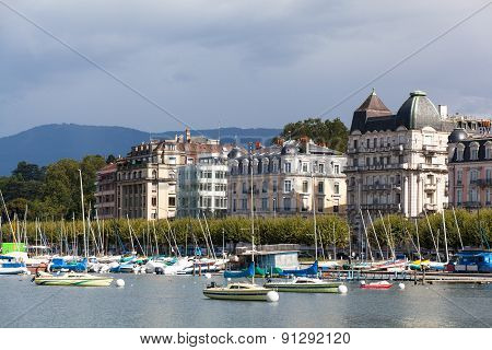 Yachts On The Lake, Geneva, Switzerland