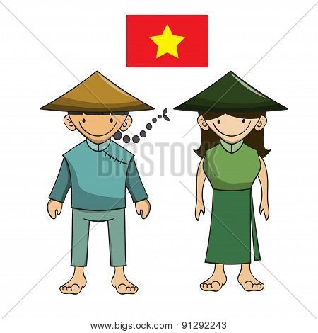Character Of Vietnam Vector Cartoon