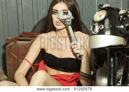 Beautiful Sexy Young Girl With Spanner