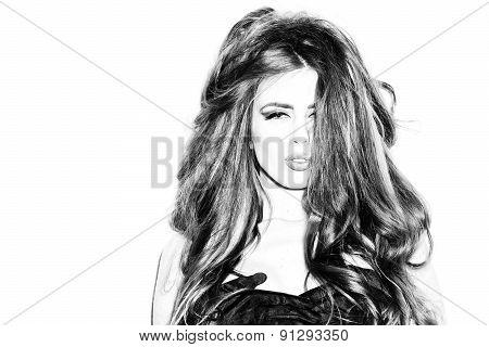 Portrait Of Passionate Pretty Girl In Gloves