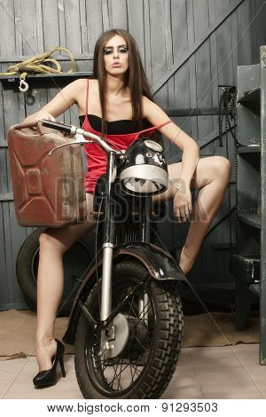 Pretty Sexy Young Woman On Motorbike