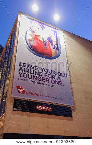 CHICAGO, USA - OCTOBER 06, 2011: Virgin America advertisement. Virgin America, Inc. is a United States-based airline that began service on August 8, 2007