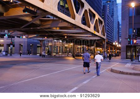 CHICAGO, USA - OCTOBER 06, 2011: Chicago downtown. Chicago is the third most populous city in the United States, after New York City and Los Angeles