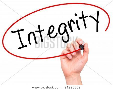 Man Hand writing Integrity black marker on visual screen.