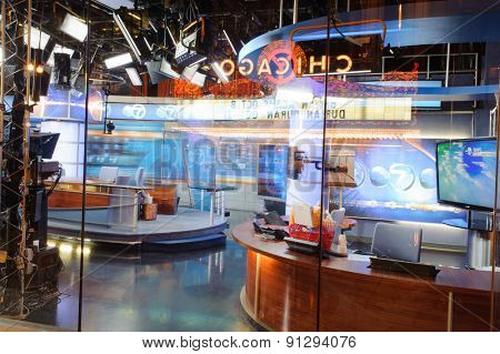CHICAGO, USA - OCTOBER 04, 2011: tv studio in Chicago downtown. Chicago is the third most populous city in the United States, after New York City and Los Angeles