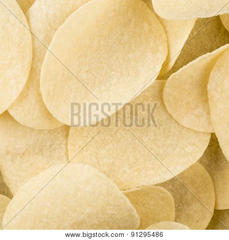 Prepared Potato Chips Snack Closeup View