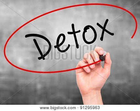 Man Hand writing Detox with marker on transparent wipe board.