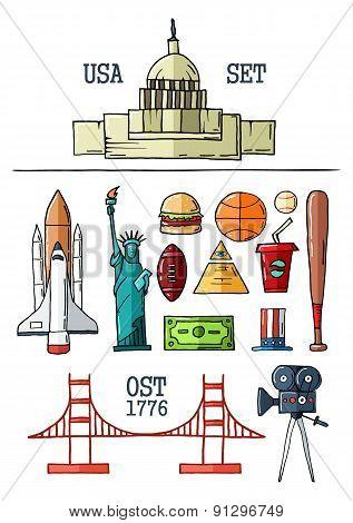 Hand drawn symbols of the USA.