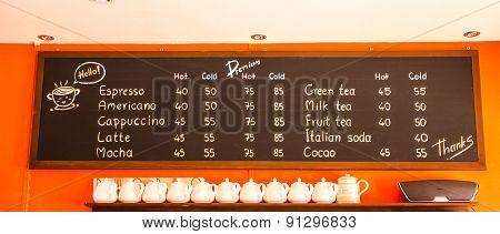 Coffee And Beverage Menu