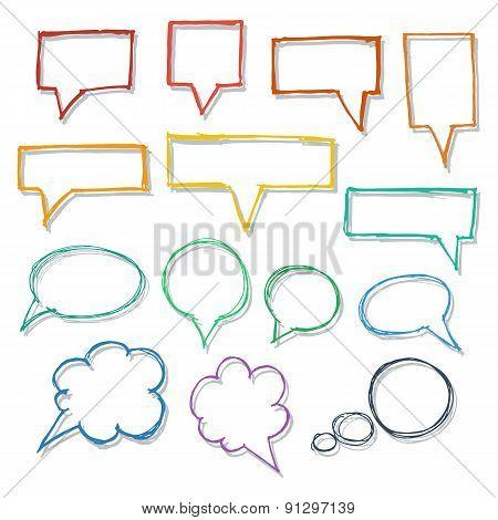 Speech bubbles. Hand-drawn design elements collection.