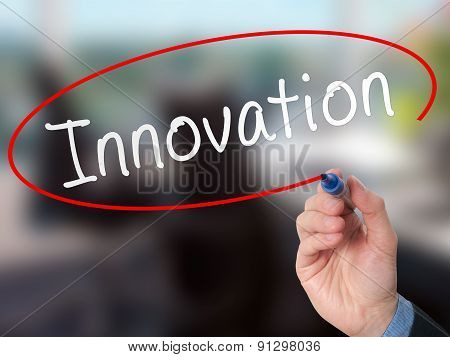 Man Hand writing Innovation with marker on visual screen.
