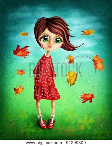 Little fairy girl in the autumn