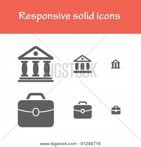 Responsive Solid Finance And Trading Icons