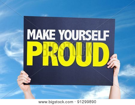 Make Yourself Proud card with sky background