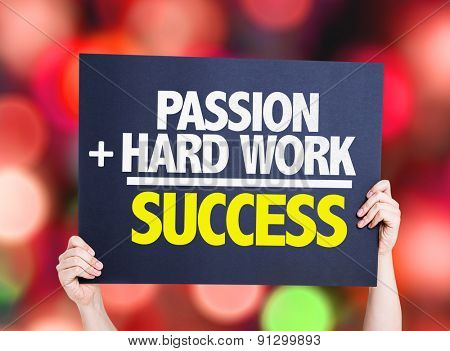 Passion + Hard Work = Success card with bokeh background