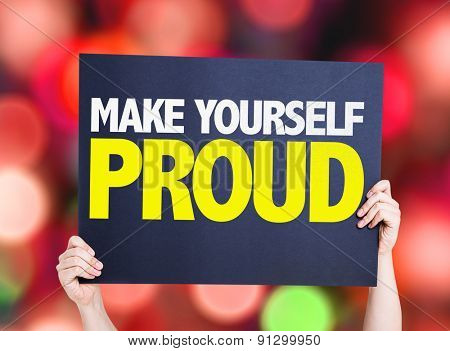 Make Yourself Proud card with bokeh background