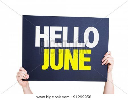 Hello June card isolated on white