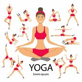 Vector Yoga Illustration Set Women Sketch Asana Girl Healthy Lifestyle poster