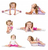 picture of gymnastics  - Collection of photos gymnast cute little girl isolated on white - JPG