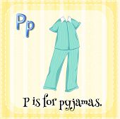 foto of letter p  - Flashcard letter P is for pyjamas - JPG