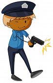 stock photo of policeman  - Closeup policeman shooting with a firegun - JPG