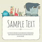 picture of monsters  - Cute doodle monster greeteng or invitation card with place for your text - JPG