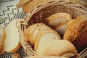 pic of fresh slice bread  - Handmade fresh sliced bread in a wicker basket - JPG
