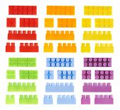 foto of brick block  - Set of colorful plastic toy construction block bricks isolated over the white background - JPG