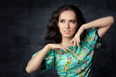picture of outfits  - Elegant woman wearing a trendy and stylish  floral outfit - JPG