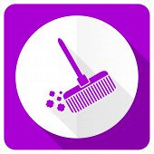 pic of broom  - broom pink flat icon clean sign