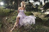 foto of natural blonde  - Cute blonde sexy woman in nature scenery - JPG