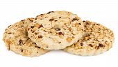 picture of shortbread  - Three shortbreads rings with peanuts isolated on white background - JPG