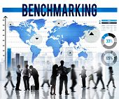 stock photo of benchmarking  - Benchmarking Standard Development Quality Control Concept - JPG