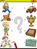 picture of brain teaser  - Cartoon Illustration of Education Element Matching Game for Preschool Children - JPG