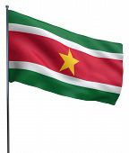 stock photo of suriname  - Suriname flag waving image isolated on white - JPG