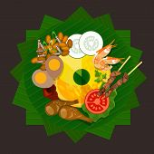 pic of nasi  - indonesia tumpeng rice traditional food yellow rice vector - JPG