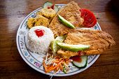 picture of plantain  - Delicious breaded fish served with rice - JPG