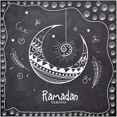 foto of ramadan mubarak card  - Elegant greeting card decorated with floral moon on chalkboard background for holy month of Muslim community - JPG