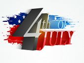pic of nationalism  - 3D glossy text 4th of July on national flag color splash background for American Independence Day celebration - JPG