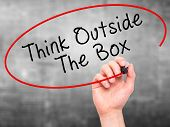 stock photo of thinking outside box  - Man Hand writing Think Outside The Box with marker on transparent wipe board - JPG