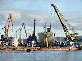 stock photo of murmansk  - large and busy sea port in murmansk russia - JPG