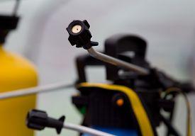 stock photo of pesticide  - Close up of fruit sprayer for pesticides - JPG